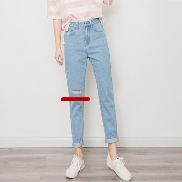 special for shoe great variety models official supplier Harajuku Ripped Jeans For Women Spring High Waist Jeans Woman BF Jeans  Femme Casual Harem Pants Denim Blue Trousers Women C3958