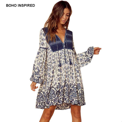 30e0641ee1b83 Boho Inspired summer dress patchwork floral print tassel mini V-neck women  dresses long sleeve