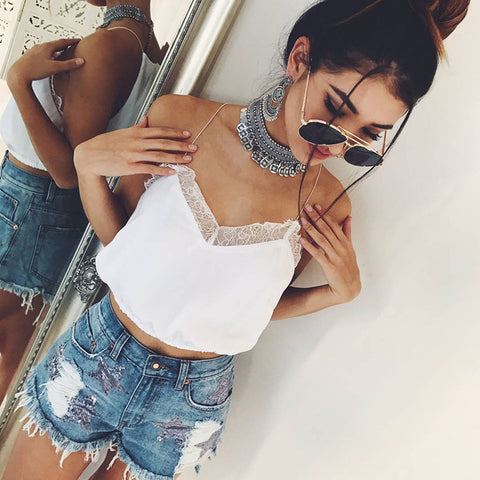 8fccf6c3ce0 Sexy Cropped Camisole Lace Crop Top Women Crop Tops Women 2018 V Neck  Sleeveless Solid Short