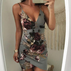 Sexy Womens Sleeveless Dress Floral Strappy V Neck Vestido 2018 Bodycon Evening Party Clubwear Short Mini Dress Fashion