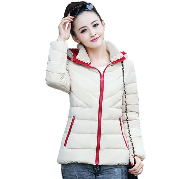 2018 hooded short women winter autumn jacket women outerwear for women jaqueta feminina inverno ladies coat stand collar slim