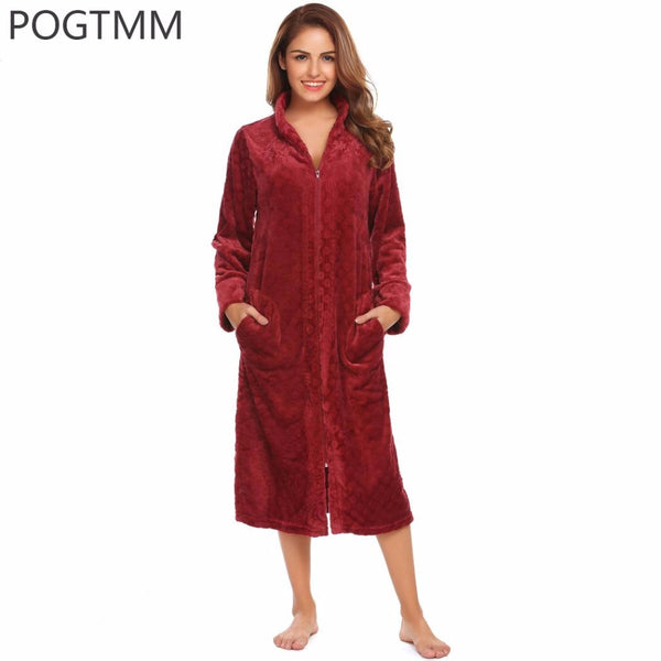 10ff931ae4 Lady Winter Long Bathrobe Plush Spa Bath Robe Women Large Size Flannel