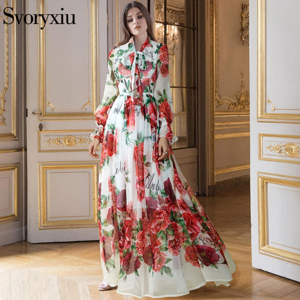 f95c862c8404a Runway Designer Boho Maxi Dress Women's Elegant Beach Vacation Flower  Printing Long Dress Bow Collar Floor-Length Party Dresses