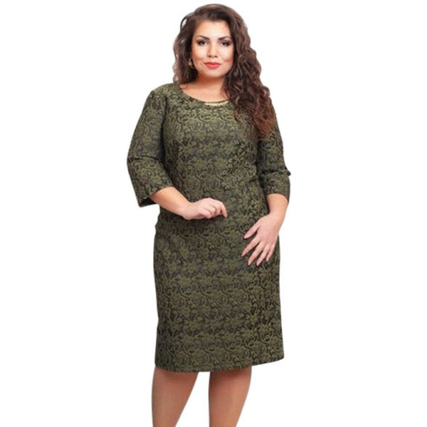 PY216  Elegant Women Autumn Long Sleeve Floral Printed Dress Party Wear Plus Size L-6XL