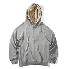Mens Half Zipper Pullover Fleece Sherpa Plus Velvet Hoodies Streetwear Side Split Cool Hip-hop Urban Clothing Justin Bieber Tyga