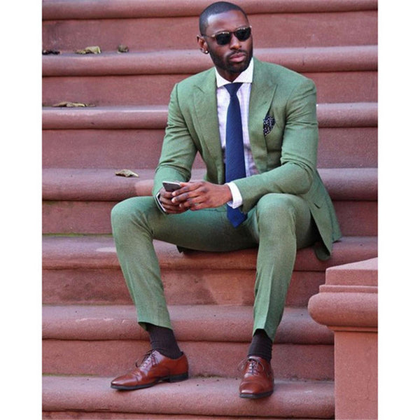 2018 Fashion Slim Fit New Army Green Linen Men Suit Wedding Party