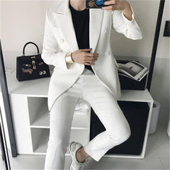 Women's clothing fashion casual suits sets / Female business coat solid color double button suit blazers+pants trousers Set T621