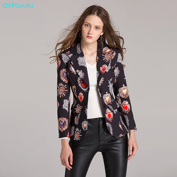 2017 Autumn Designer Luxury Runway Print Womans Jacket Fashion High Quality Long Sleeves Black Casual Short Tops Jacket
