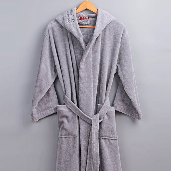 ... XMS Brand 100% Cotton Bathrobe Hooded Thick warm Winter Spring Dressing  Gown Long Robe ... e2bd45ac5