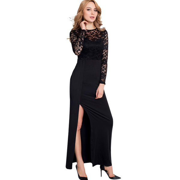 Women's Sexy Night Wear Bodycon Dresses Fashion Lace Splicing Long Sleeve Slim Night Dress Lingerie