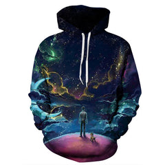 2018 New Colorful Clouds Sky Hoodies Men / Women 3d Sweatshirts Print Person & Dog Hoody Unisex Hooded Tracksuits Tops S-3XL