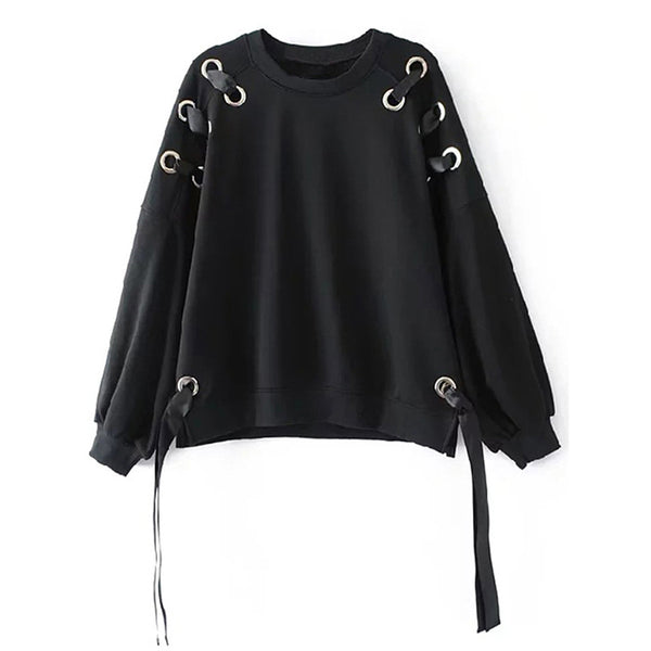 2017 New Fashion Hoodie Sweatshirt Black Women Winter Hollow Ribbon Long Sleeve Loose Pullover Tops for Girls Hoodies Sweatshirt