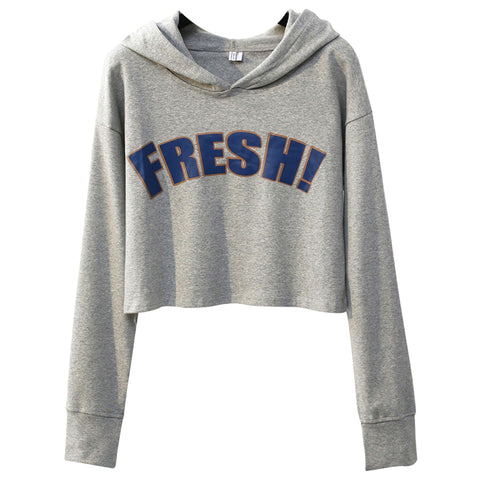 2b6fa422a 2017 Autumn Women Long Sleeve hoodies Crop Tops big fresh letter Printed  hooded Sweatshirts Patchwork Short
