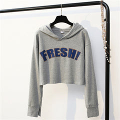 2017 Autumn Women Long Sleeve hoodies Crop Tops  big fresh letter Printed hooded Sweatshirts Patchwork Short Pullovers