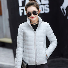 Stand collar short winter jacket women 2018 autumn female basic jacket coat cotton solid casual casacos de inverno feminino