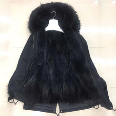 2018 real raccoon fur parka coat jacket detachable long fashion women natural fur coat hooded thick warm fur parkas street style