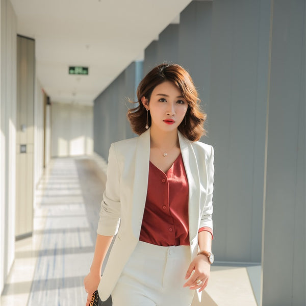 07fa89b85abe Formal Office Uniform Designs Women Blazers and Jackets Elegant White