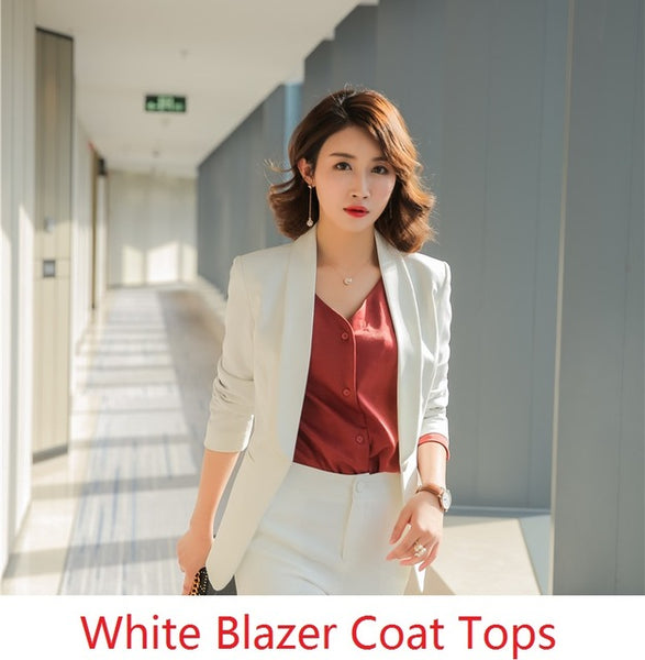 aa4413d99b2 ... Formal Office Uniform Designs Women Blazers and Jackets Elegant White  Slim Long Sleeve Ladies Work Wear ...