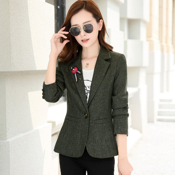 Slim Red Casual Blazer Women Plus Size Cotton Short Jacket Blazer Femme Elegant Formal Jaqueta Feminina Women Blazers P6C1212