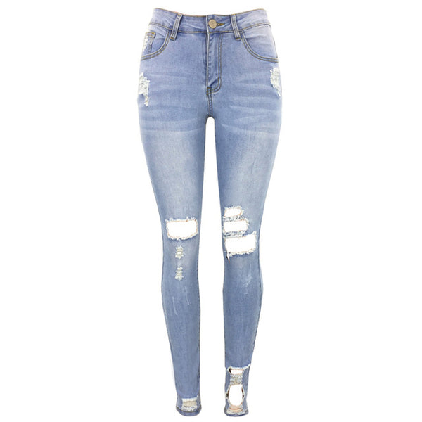 Women/'s Jeans Blue Ripped Skinny Stretch Jeans