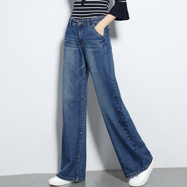 Hot Sale 2018 Spring Jeans Women Wide Leg Pants High Waist Loose Casual Jeans Female Pocket Denim Pants