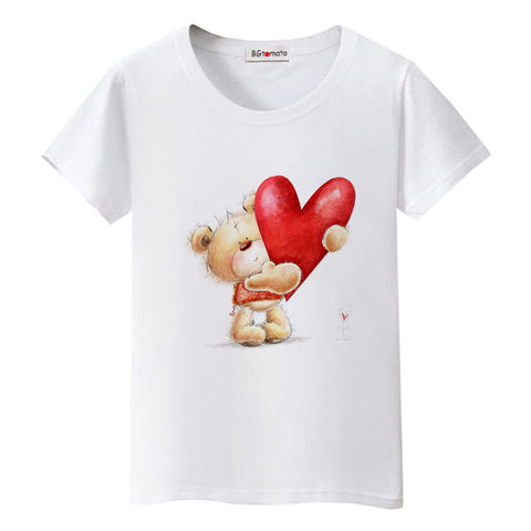 31000104 BGtomato New cute little Bear with love t shirts womens t shirts 3d printed  Funny women