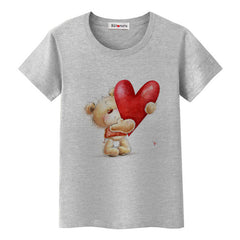 BGtomato New cute little Bear with love t shirts womens t shirts 3d printed Funny women T-Shirt women short sleeve tees tops