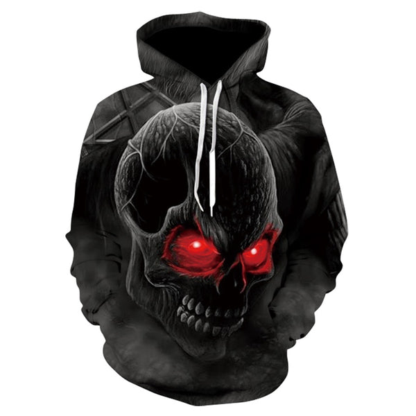 2018 Spring Fashion Men/women Hoodies Street clothing Red eyes Skull head Hooded Hoody Sweatshirt 3D Casual lovely Tracksuits