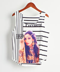 2018 Summer Cotton  T-Shirts 3D Print Women Tank Tops & Camis Printed Sleeveless Vest Girls Summer Short Crop Tops Irregular