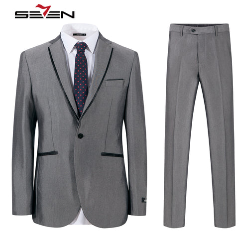 Seven7 Brand Mens Suits 2017 Slim Fit Grey Luxury Male Blazer Wedding Suit  For Groom Tuxedo 518fd13e54a8