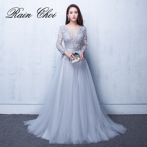 2018 Evening Dresses 3/4 Sleeves Appliques Silver Formal Gown Long Eve