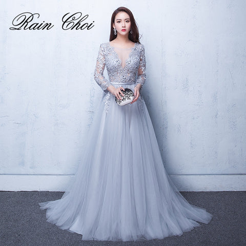 2018 Evening Dresses 3 4 Sleeves Appliques Silver Formal Gown Long Evening  Party Dress vestido bf1d59f0e837