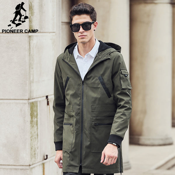 volume large special for shoe new release Pioneer Camp 2018 new trench coat men brand clothing Top Quality male long  army green trench coat windbreaker jacket 611315