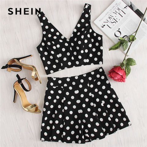 SHEIN Polka Dot Zip Back Crop Top And Shorts Set Women Deep V-neck Sleeveless Pleated 2 Pieces Sets 2018 Summer Sexy Twopieces