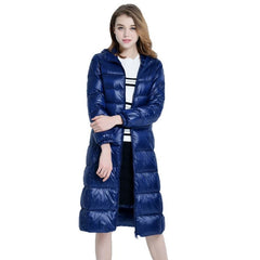 2018 New High-End Brand Ladies Winter Warm Coat Women Ultra Light 640 Filling Prower Long White Duck Down Jacket Women Jackets