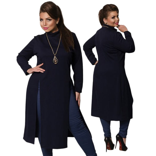 49d60af2bba 2018 Winter Women Dress Plus Size Women Clothing Long Sleeve High Slit