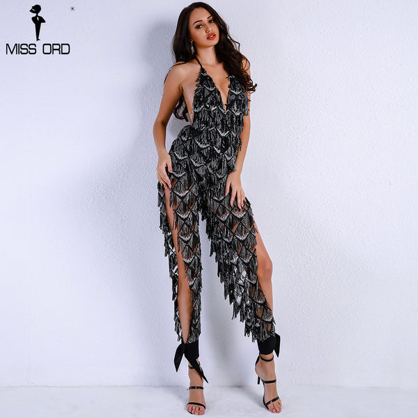 Missord 2018 Women Sexy Off Shoulder Deep V Sequin Rompers Playsuits Elegant Backless Overalls Split Halter Jumpsuit  FT9186