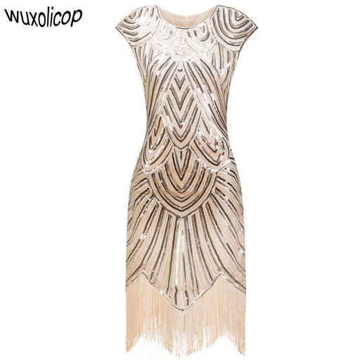 dd2a3bcdeee Vintage 1920s Flapper Great Gatsby Dress O-Neck Cap Sleeve Sequin Fringe  Party Midi Dress