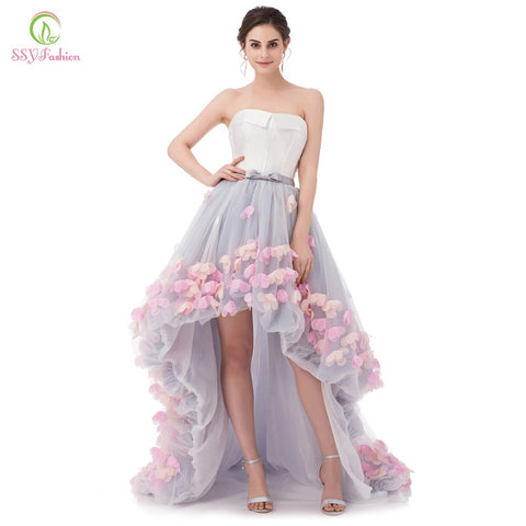 SSYFashion Sexy Strapless Sleeveless Short Front Long Back Lace Flower Evening  Dress Bride Banquet Formal Party 9758a9791f75