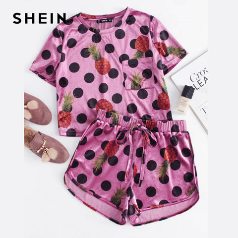SHEIN Glitter Two Piece Set Mixed Print Velvet Top And Knot Front Shorts Co-Ord Polka Dot Women Multicolor Summer Top and Pants