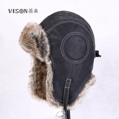 2018 New Winter Artificial Leather Hats Casual Men Women Windproof Warm Bomber Hats Motorcycle Flight Ear Protection Cap Hi-Q