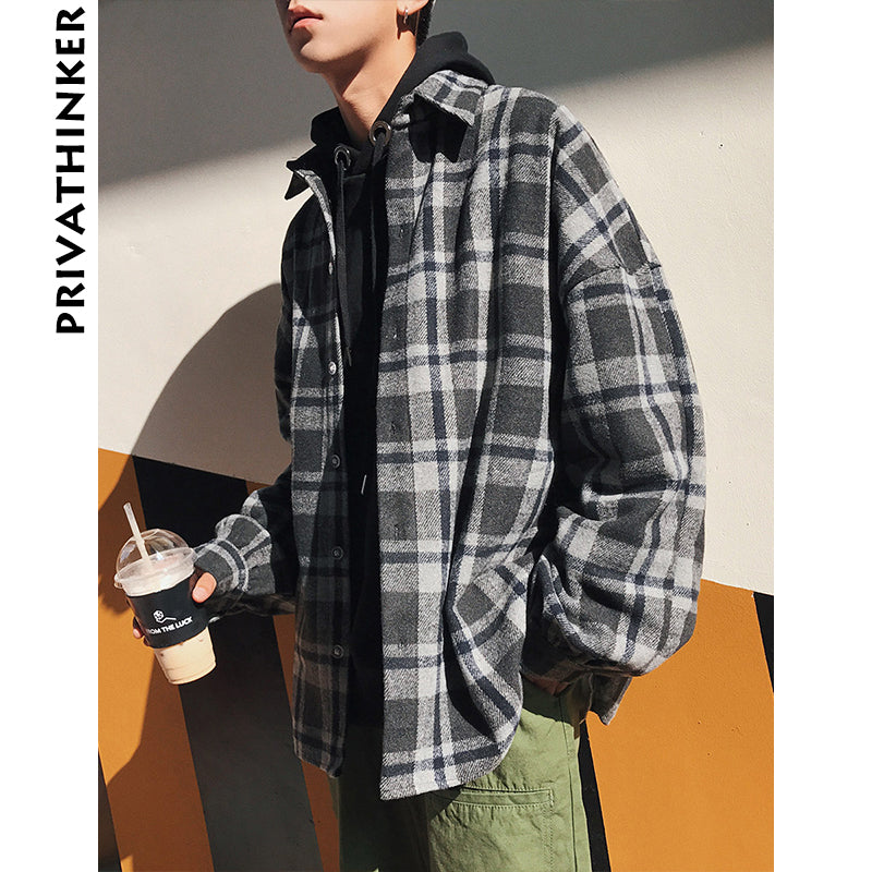 Privathinker Oversized Long Sleeve Thick Woolen Plaid -1339
