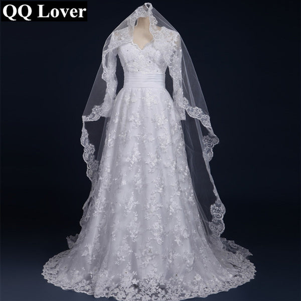 QQ Lover 2018 Sexy Long Sleeves Lace Vestido De Noiva With Veil Custom-Made Bridal Gown Wedding Dress