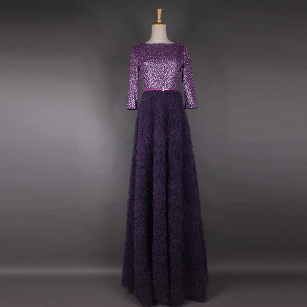 2017 Spring And Summer Newest  Elegant Round Collar Purple Shining Sequins Sashes Three Quarter Sleeve Elegant Floor-Lengh Dress