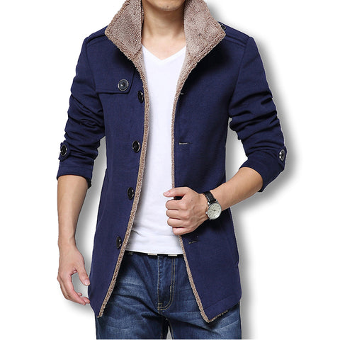 8914938ca0e7 2018 Men Long Wool Coat Winter Men Jackets And Coats Slim Fit Men  Windbreaker High Quality