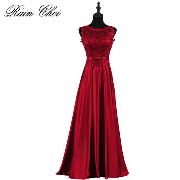 Dark Red Formal Bridesmaid Dresses Long Top Bodies Lace Satin Bridesma