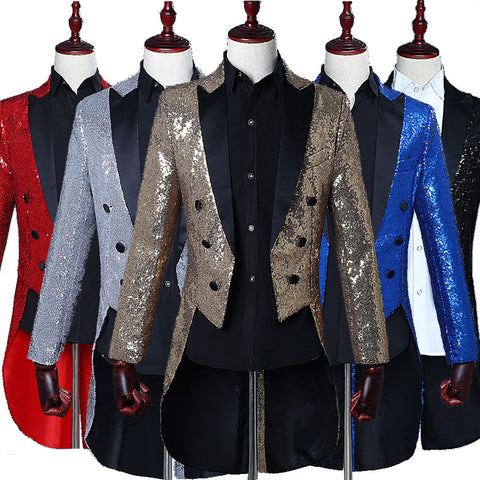 1e4ebfe9 Male sequined tuxedo stage performance dress magician jacket nightclub bar  hosted the United States vocal choir