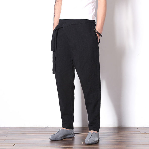 147f122a89 ... MRDONOO Chinese wind retro cotton and linen feet casual pants men's  youth large size linen pants ...
