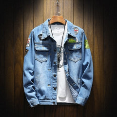 GODLIKE  Spring and autumn new day is a large size denim jacket, men's fashion casual jacket, youth personality denim jacket.
