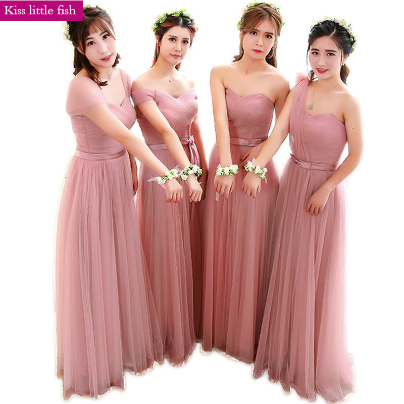 Free shipping 2018 New Dark pink long bridesmaid dresses Dress for wed